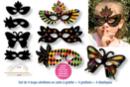 Masques loups vénitiens en carte à gratter + accessoires - 4 pcs - Cartes à gratter - 10doigts.fr