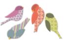 Moineaux en bois décoré - Set de 8 - Motifs peints - 10doigts.fr