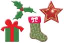 Motifs de Noël en bois décoré - Set de 8 - Motifs peints - 10doigts.fr