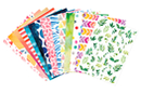 Cartes fortes motifs aquarelle - 14 designs assortis - Papiers motifs géométriques - 10doigts.fr