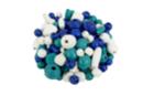 Perles en bois en camaïeu de bleu - 70 perles - Perles en bois - 10doigts.fr