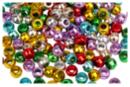 Perles métallisées à gros trou - 160 perles - Perles en plastique - 10doigts.fr