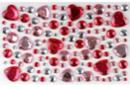 Strass adhésifs ronds et coeurs rose - 106 strass - Décorations Coeurs - 10doigts.fr