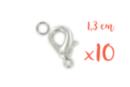 Fermoirs mousquetons argentés 1,3 cm - Lot de 10 - Fermoirs 03482 - 10doigts.fr