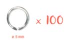 Anneaux ronds argentés Ø 5 mm - Lot de 100 - Anneaux simples ou doubles, ronds ou ovales - 10doigts.fr