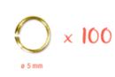 Anneaux ronds dorés Ø 5 mm - Lot de 100 - Anneaux simples ou doubles, ronds ou ovales - 10doigts.fr