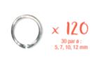Anneaux ronds argentés (30 par Ø : 5, 7, 10, 12 mm) - Lot de 120 - Anneaux simples ou doubles, ronds ou ovales 11816 - 10doigts.fr