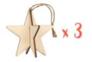 Etoile 3D à suspendre - Lot de 3 - Décorations de Noël en bois 19867 - 10doigts.fr