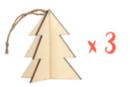 Sapins 3D à suspendre - Lot de 3 - Décorations de Noël en bois 19869 - 10doigts.fr