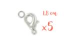 Fermoirs mousquetons argentés 1,8 cm - Lot de 5 - Fermoirs 11079 - 10doigts.fr