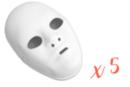Masques blancs, taille adulte - Lot de 5 - Mardi gras, carnaval 13171 - 10doigts.fr