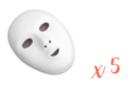 Masques blancs, taille enfant - Lot de 5 - Mardi gras, carnaval - 10doigts.fr