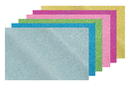 Caoutchouc souple pailleté adhésif  - Set de 6 plaques (or + argent + bleu + rose + fuchsia + vert) - Tous les papiers adhésifs - 10doigts.fr