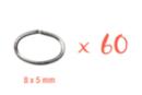 Anneaux ovales simples argentés 8 x 5 mm - 60 pcs - Anneaux simples ou doubles, ronds ou ovales - 10doigts.fr