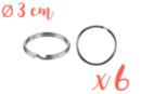 Anneaux brisés Ø 3 cm - Lot de 6 - Porte-clés pour bijoux - 10doigts.fr