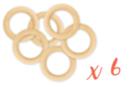 Anneaux en bois naturel ø 6,5 cm - 6 pièces - Perles en bois 05327 - 10doigts.fr