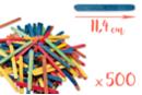 Bâtons d'esquimaux colorés 11,4 cm - Lot de 500 - Bâtonnets, tiges, languettes 05891 - 10doigts.fr