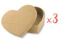 Boîtes cœur 13 x 10 cm - H : 3,5 cm - Lot de 3 - Boîtes en carton 11997 - 10doigts.fr