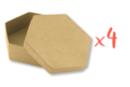 Boîtes hexagonales Ø 10,5 cm -  H : 3,5 cm - Lot de 4 - Boîtes en carton 12131 - 10doigts.fr