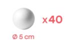 Boules en polystyrène Ø 5 cm -  Lot de 40 - Boules en polystyrène 12681 - 10doigts.fr