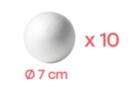 Boules en polystyrène Ø 7 cm - Lot de 10 - Boules en polystyrène 10362 - 10doigts.fr