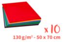 Cartes légères - dim : 50 x 70 cm, 10 feuilles (10 couleurs  assorties) - Papiers Unis 14100 - 10doigts.fr