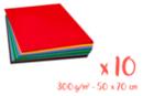 Cartes fortes 300 gr - 50 x 70 cm, 10 couleurs - 10  feuilles  - Papiers épais 03160 - 10doigts.fr