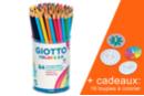 Crayons Giotto Colors 3.0 - Pot de 84 crayons + CADEAU 16 toupies à colorier - Crayons de couleurs 12712 - 10doigts.fr