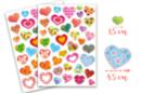 Gommettes coeurs fantaisie - 2 planches (74 gommettes) - Stickers, gommettes coeurs - 10doigts.fr