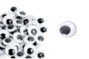 Grands yeux mobiles noirs Ø 25 mm - 24 yeux - Cartes et Stickers - 10doigts.fr
