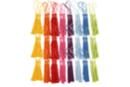Long pompons colorés (9 x 8 couleurs) - 72 pompons - Rubans et cordons - 10doigts.fr