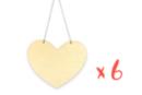 Suspensions coeur en bois + cordons - Lot de 6 - Plaques en bois 29743 - 10doigts.fr