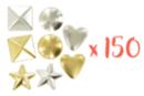 PROMO : Clous formes assorties ( pyramides, ronds, étoiles, coeurs) or et argent - 150 clous assortis - Strass et clous 19359 - 10doigts.fr