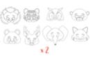 Masques animaux - Lot de 2 sets de 8 - Mardi gras, carnaval 29701 - 10doigts.fr