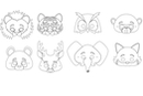 Masques animaux - Set de 8 - Mardi gras, carnaval 29700 - 10doigts.fr