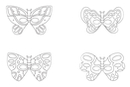 Masques papillons - Set de 4  - Mardi gras, carnaval 12844 - 10doigts.fr