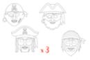 Masques pirates - Lot de 3 sets de 4 - Mardi gras, carnaval 12807 - 10doigts.fr