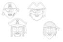 Masques pirates - Set de 4 - Mardi gras, carnaval 12806 - 10doigts.fr