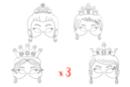 Masques princesses - Lot de 3 sets de 4 - Mardi gras, carnaval 12809 - 10doigts.fr