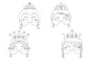 Masques princesses - Set de 4 - Mardi gras, carnaval 12808 - 10doigts.fr