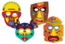 Masques TIKI + gommettes - Set de 4 masques - Masques - 10doigts.fr