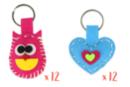 MAXI LOT de 24 porte-clés en feutrine rembourrée : 12 hiboux + 12 coeurs couleurs assorties - Kits Mercerie 38073 - 10doigts.fr