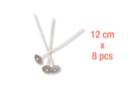 Mèches à bougie 12 cm, embase métal - Lot de 8 - Colorants, parfums, accessoires 11269 - 10doigts.fr