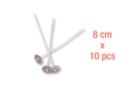 Mèches à bougie 8 cm, embase métal - Lot de 10 - Colorants, parfums, accessoires - 10doigts.fr