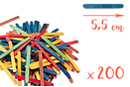 Bâtons d'esquimaux coloré 5,5 cm - Lot de 200 - Bâtonnets, tiges, languettes 14929 - 10doigts.fr