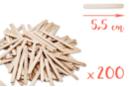 Bâtons d'esquimaux en bois (5,5 cm) - Lot de 200 - Bâtonnets, tiges, languettes 14927 - 10doigts.fr