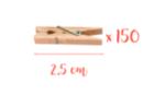 Mini pinces à linge 2,5 cm -  3 lots de 50 (150 pinces) - Pinces à linge en bois brut 05624 - 10doigts.fr