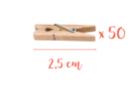 Mini pinces à linge 2,5 cm - Lot de 50 - Pinces à linge en bois brut - 10doigts.fr