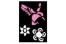 Pochoir adhésif 10 x 7 cm - colibri, fleurs - Pochoirs Adhésifs 13502 - 10doigts.fr