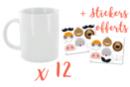 Mug en porcelaine blanche - Lot de 12 + 12 stickers Animaux offerts - Supports en Céramique et Terre Cuite 44160 - 10doigts.fr